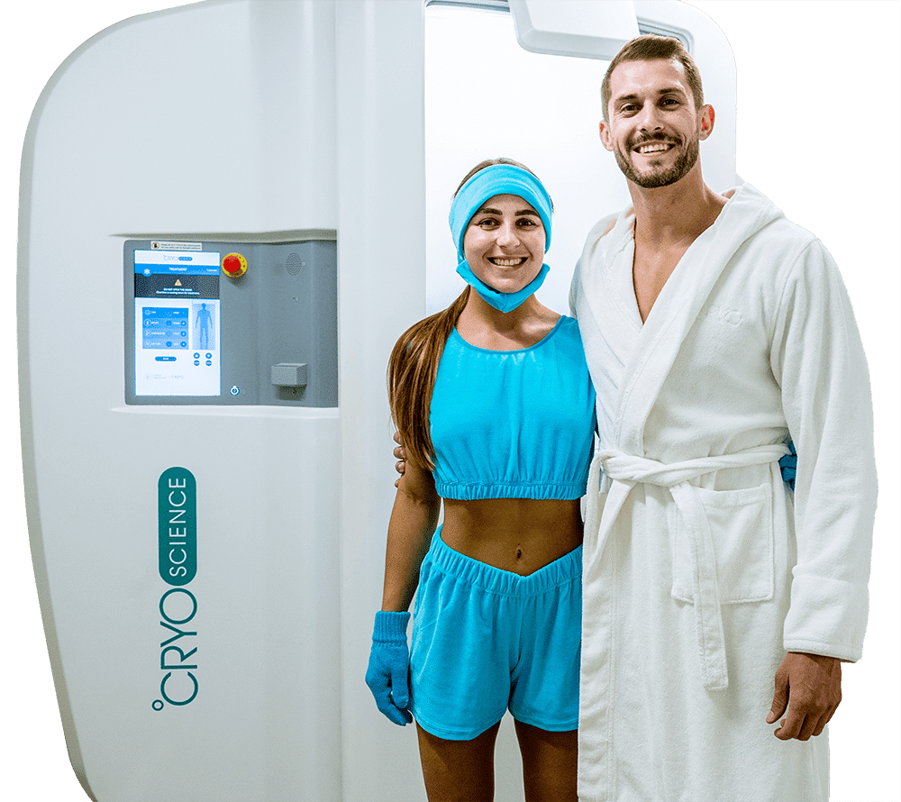 Happy couple trying cryotherapy